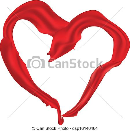 Clip Art Vector Of Heart Shaped Red Scarf   Heart Shaped Elegant Red