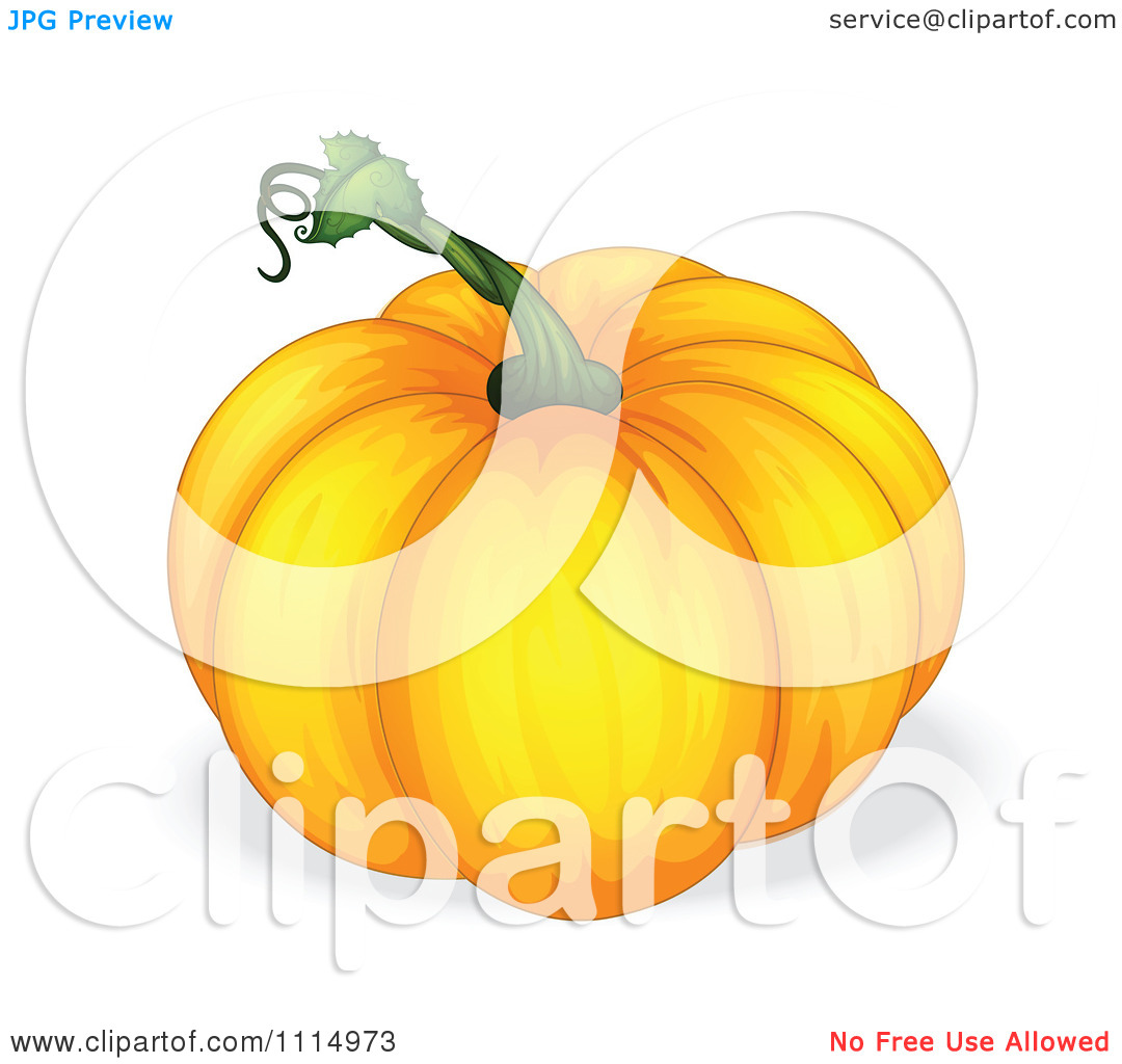 Clipart Pumpkin With A Green Stem   Royalty Free Vector Illustration