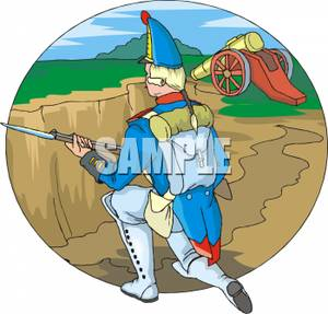 Colonial Soldier Kneeling In A Trench   Royalty Free Clipart Picture