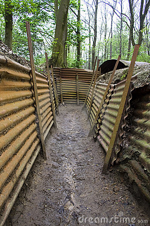 Corrugated Trenches From The First World War At A Memorial In Belgium
