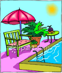 Decorated Patio With A Swimming Pool Royalty Free Clipart Picture