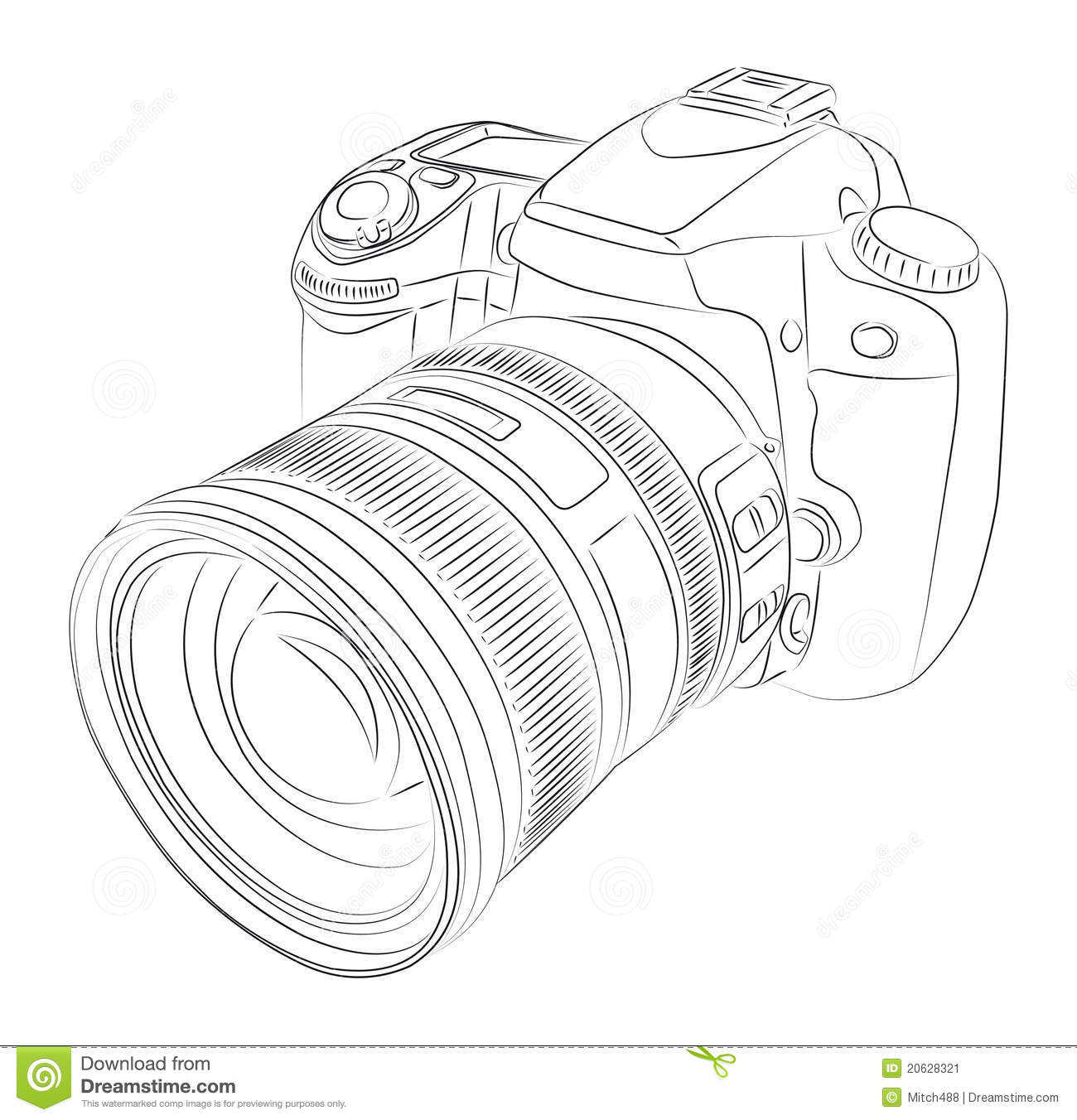 Dslr Camera Clipart Dslr With Lens Stock Image