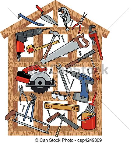 Eps Vectors Of House Construction   Construction Tools In Wood Frame