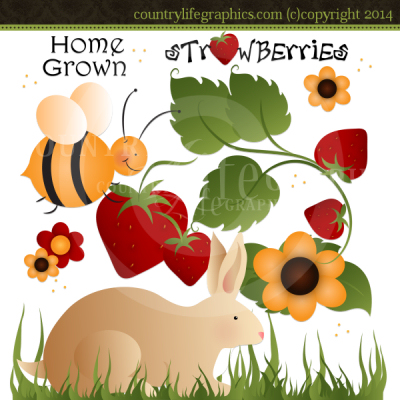 Home Grown   Inspirational Spring Clipart   Country Life Graphics