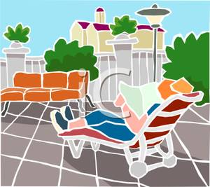 Lounger Outdoors And Reading A Paper   Royalty Free Clipart Picture