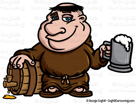 Monk Friar With Keg Of Beer Clipart Graphic   Royalty Free Vector Clip