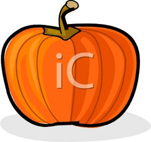Of A Bright Orange Pumpkin With A Stem   Royalty Free Clipart Picture