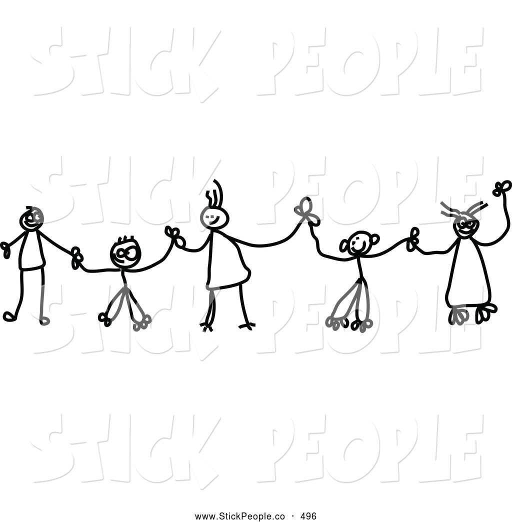 Of A Family Of Black And White Chain Of Stick Children Holding Hands