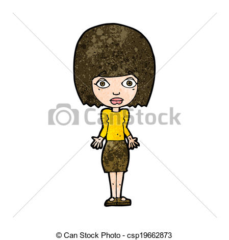 Of Cartoon Woman Shrugging Shoulders Csp19662873   Search Clipart
