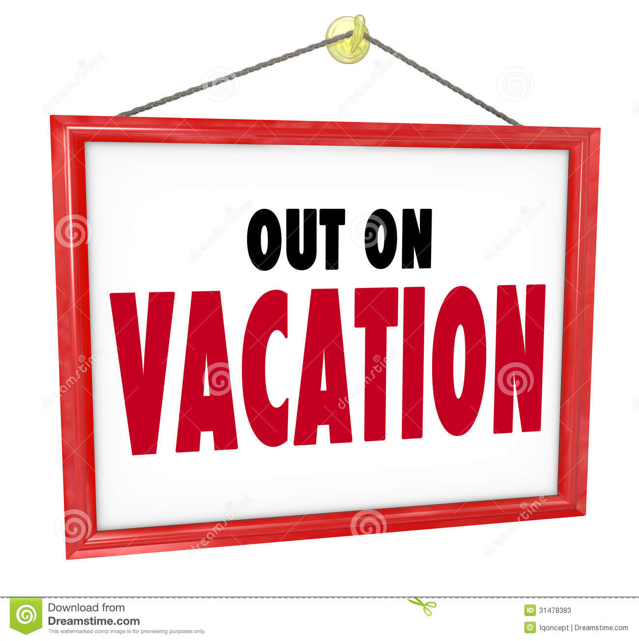 Out On Vacation Hanging Sign Store Office Closed Stock Photos   Image