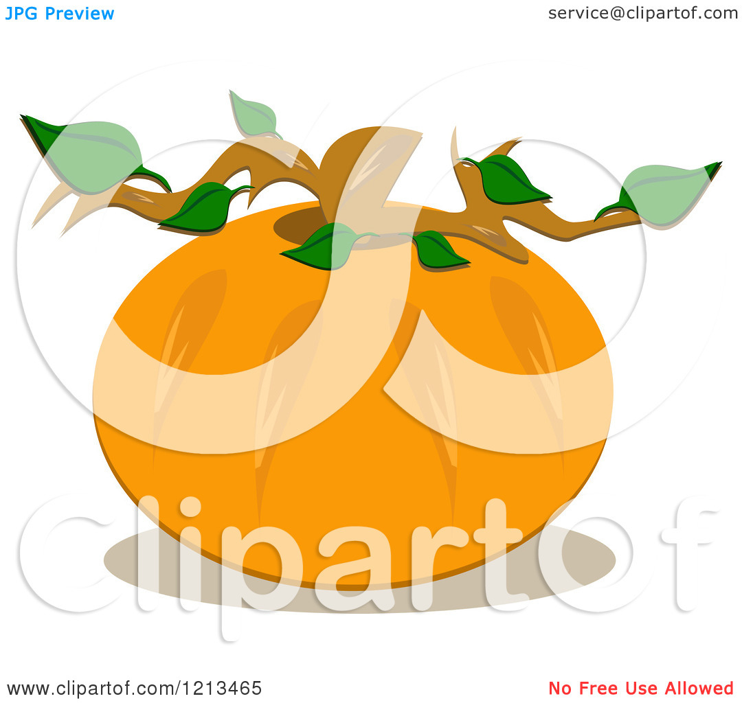 Pumpkin Leaf Clipart Cartoon Of A Round Pumpkin