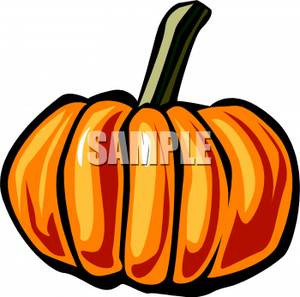 Pumpkin With Long Stem   Royalty Free Clipart Picture