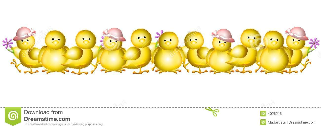 Row Of Yellow Baby Easter Chicks Border Royalty Free Stock Image