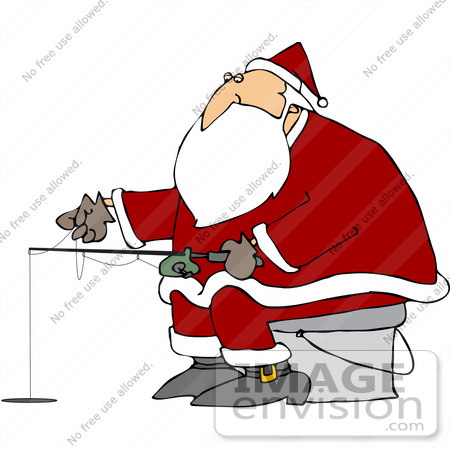 Royalty Free Christmas Clipart Picture Of Santa Claus Ice Fishing