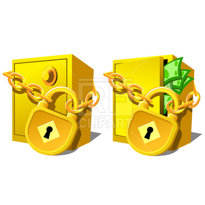 Safe With Padlock And Chain Download Royalty Free Vector Clipart  Eps
