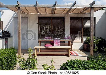Stock Photo   Wooden Patio In Garden   Stock Image Images Royalty