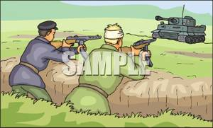 Trench Pointing Assault Rifles At A Tank   Royalty Free Clipart