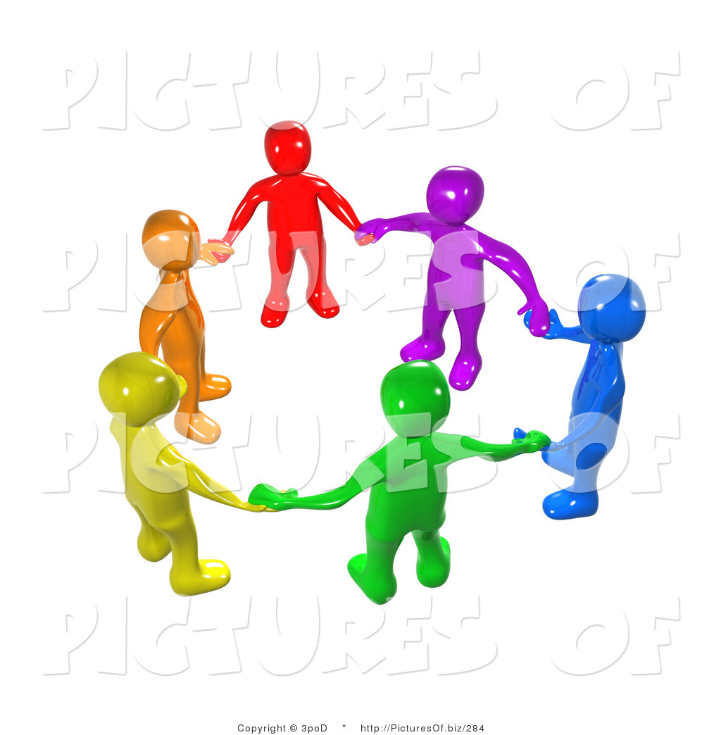 Union Of 3d Diverse People Holding Hands Clip Art 3pod