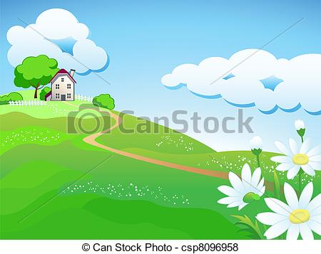 Vector Of Sweet Country Home   Dream Home At Summer Meadows With