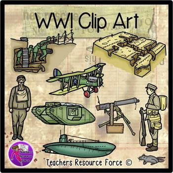 World War 1 Clip Art   Color And Black Line  Product Includes    Ww1