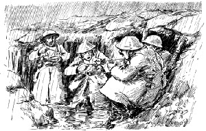 World War One Drawing Of Soldiers Eating In Their Rain Sodden Trench