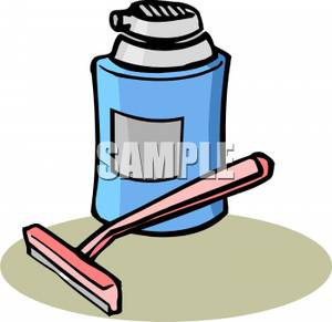 Clipart Image Of A Pink Razor And A Can Of Shaving Cream