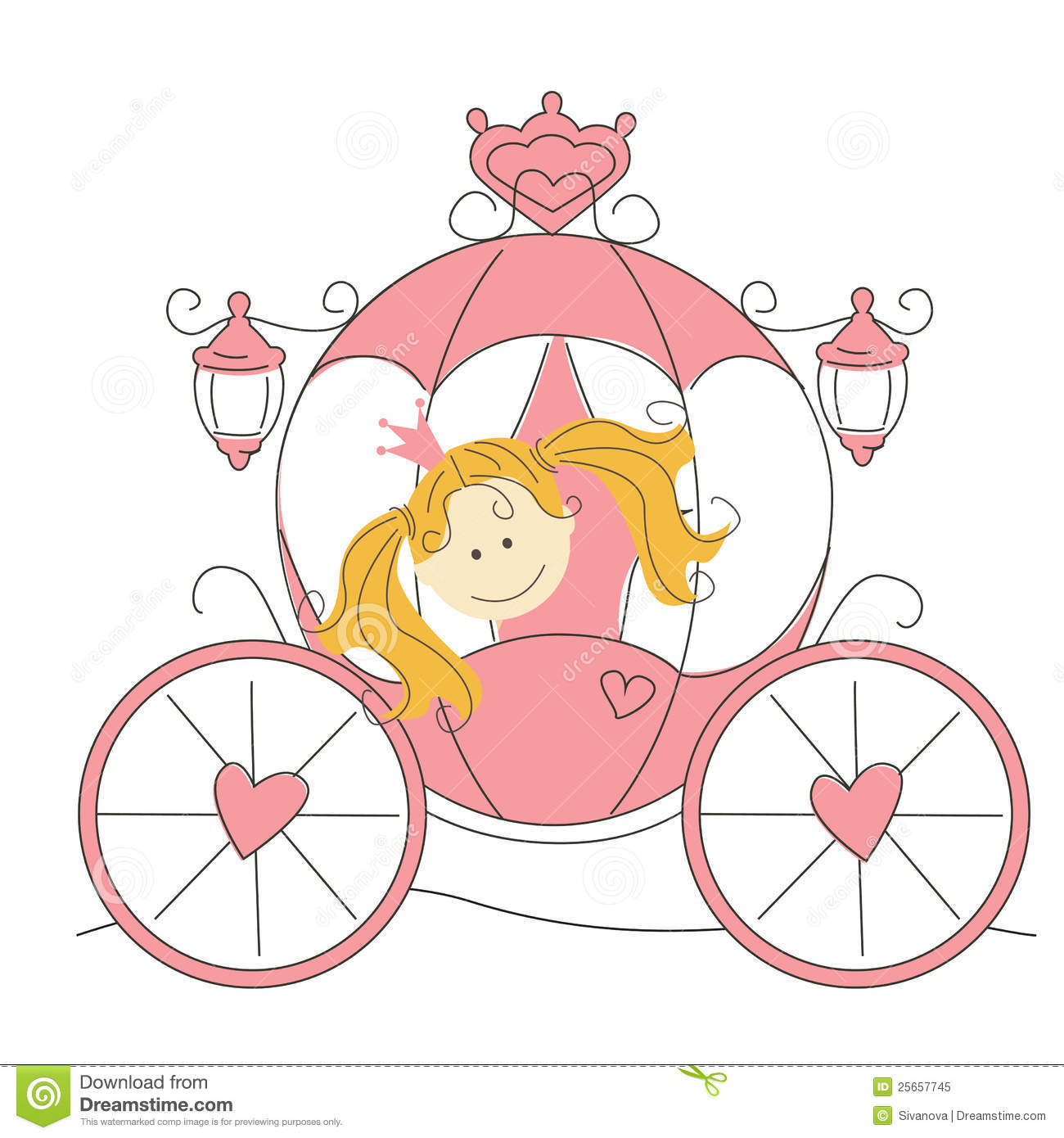 Cute Little Princess In The Carriage Royalty Free Stock Photo   Image