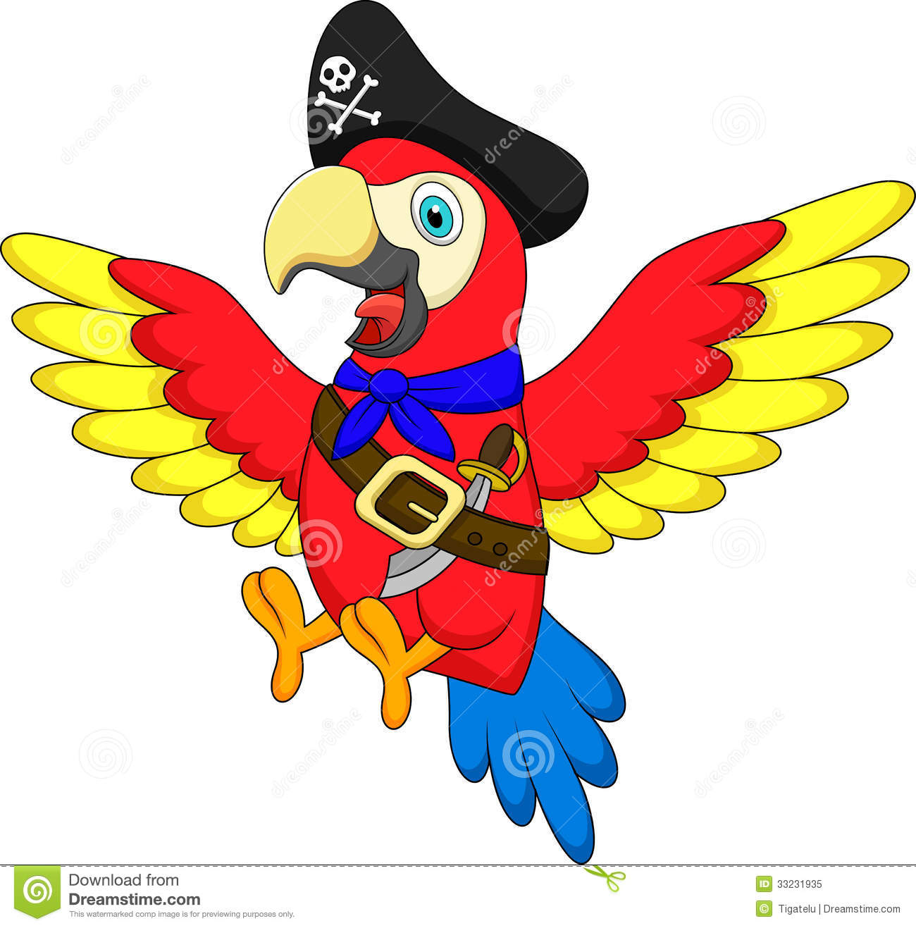 Cute Parrot Pirate Cartoon Royalty Free Stock Photo   Image  33231935