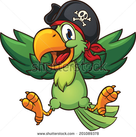 Happy Pirate Parrot  Vector Clip Art Illustration With Simple