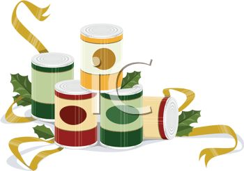 Holiday Food Drive Cans Of Food For Charity   Royalty Free Clipart