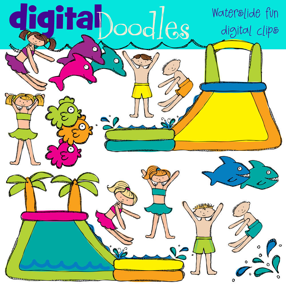 Inflatable Slide Clip Art: Water Fun Clipart