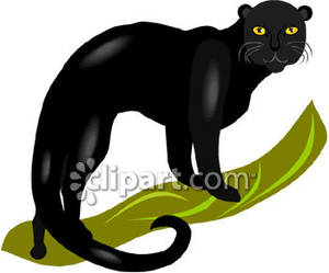Panther Clip Art Black Panther With Yellow Eyes Royalty Free Clipart
