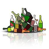 Pile Of Empty Bottles   Royalty Free Clip Art