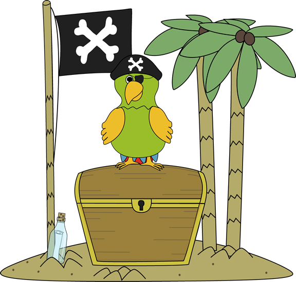 Pirate Flag And Parrot On An Island Clip Art   Pirate Flag And Parrot