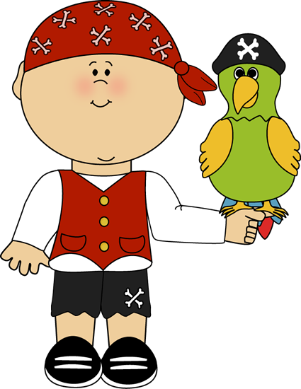 Pirate With Parrot Clip Art Image   Boy Pirate With A Parrot Sitting