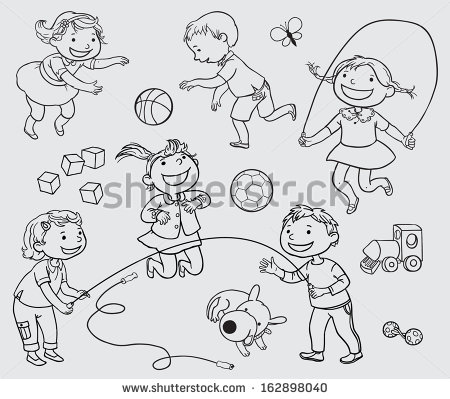 playing outside black and white clipart clipart kid