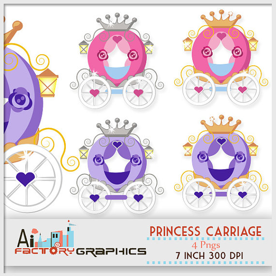 Princess Carriage Fairy Tale Digital Clipart    Little Girls Old