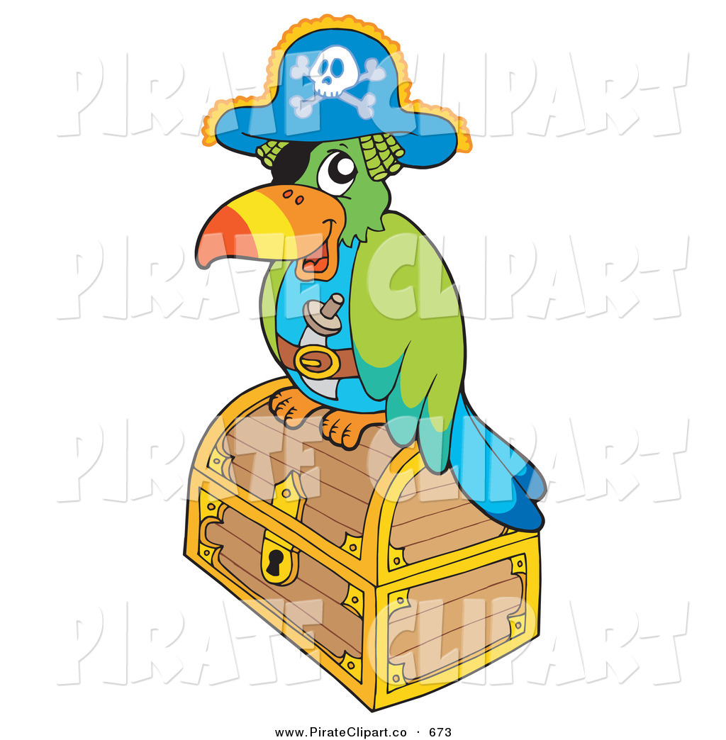 Vector Clip Art Of A Pirate Parrot On A Locked Gold Treasure Chest By