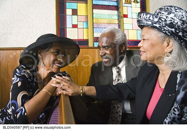 African American Senior Talking In Church   Stock Photos   Royalty