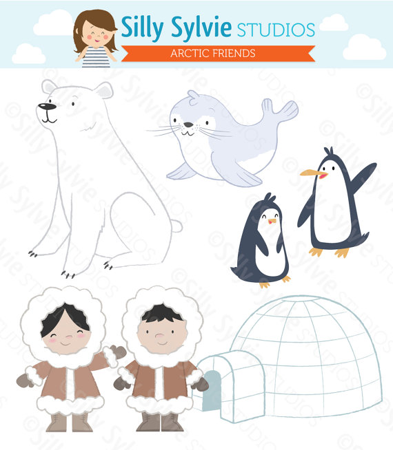 Arctic Friends Clip Art Polar Bear Penguins Seal Eskimos Igloo