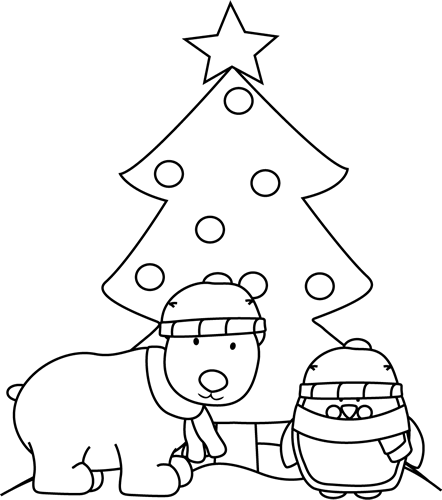 Black And White Polar Bear Penguin And Christmas Tree Clip Art