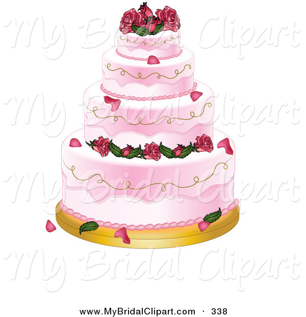 Bridal Clipart Of A Four Tiered Strawberry Pink Wedding Cake With