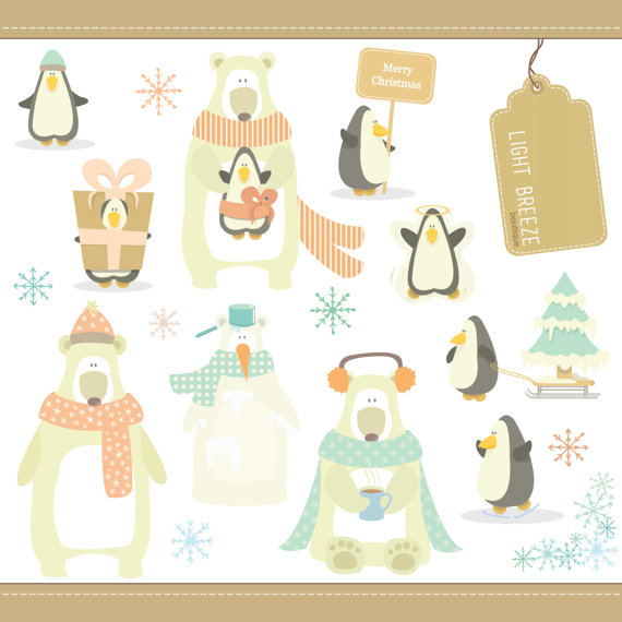 Christmas Penguins   Polar Bears Digital Clipart Set   Instant
