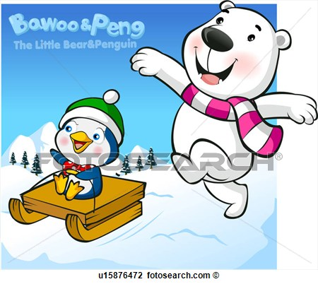 Clip Art   Polar Bear Penguin Snow Character Winter Bawoo Bear
