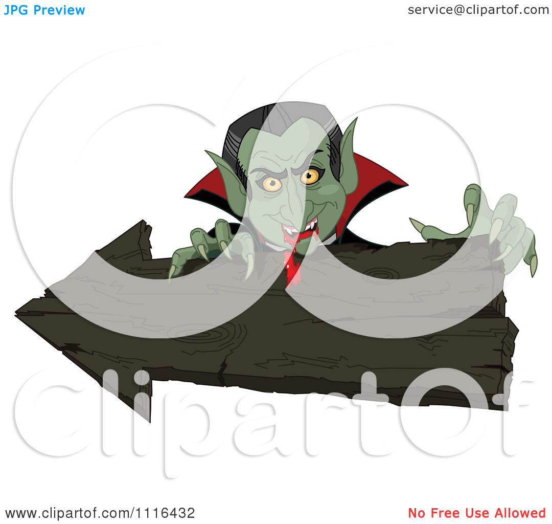 Clipart Halloween Vampire With Bloody Fangs Over A Wooden Arrow Sign