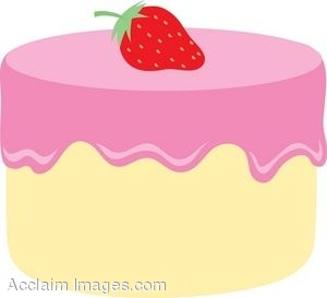 Description  White Cake With A Strawberry Clip Art  Clipart