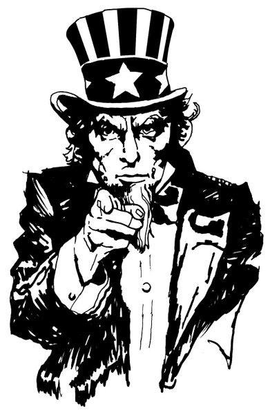Uncle Sam Black And White Clipart - Clipart Suggest | 391 x 600 png 33kB