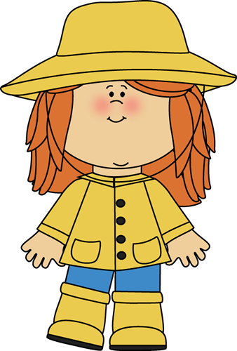 In A Raincoat Clip Art Image   Little Girl Wearing A Yellow Raincoat