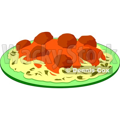 Meatballs And Marinara Italian Food On A Plate Clipart By Dennis Cox