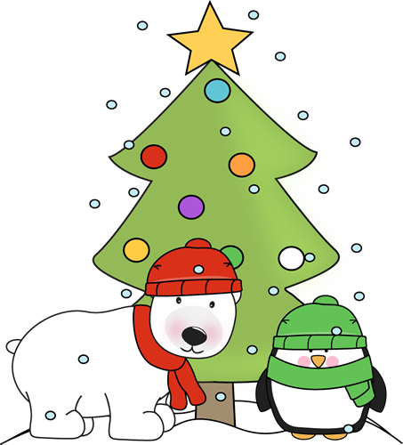 Penguin Polar Bear And Christmas Tree In The Snow Clip Art